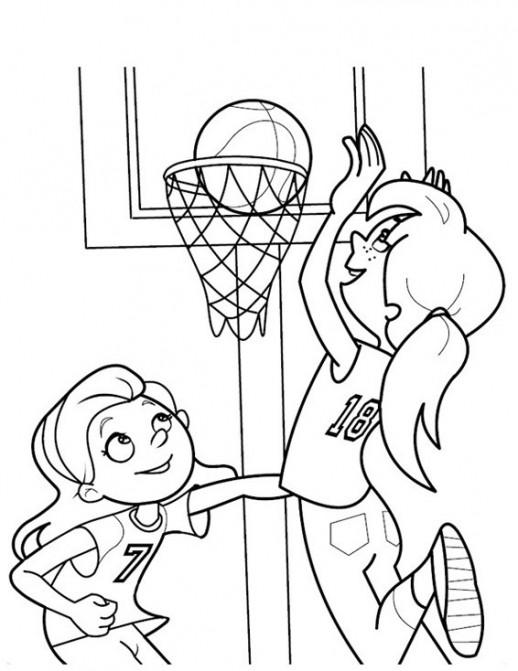Девочки играют в баскетбол Раскраски бесплатно онлайн с цветами