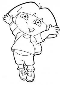 Дора прыгает Раскраски для девочек бесплатно