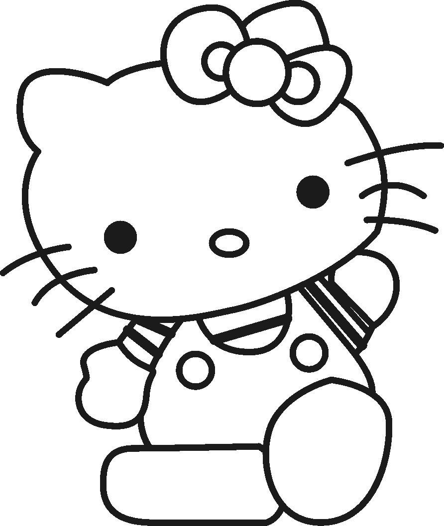Китти машет лапкой Раскраски для девочек онлайн