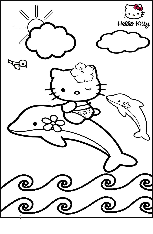 Китти путешествуе с дельфинами Раскраски для девочек онлайн