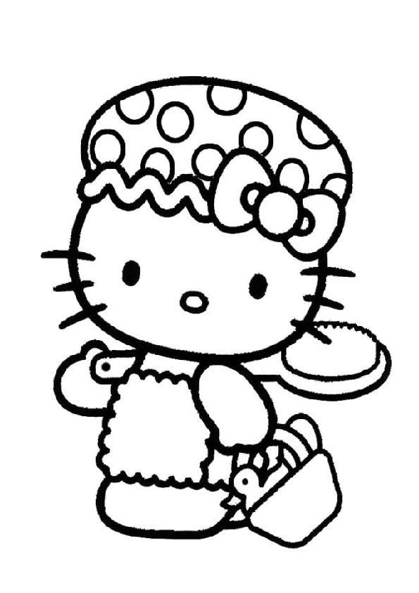 Китти с корзинкой и уточкой Раскраски для девочек онлайн
