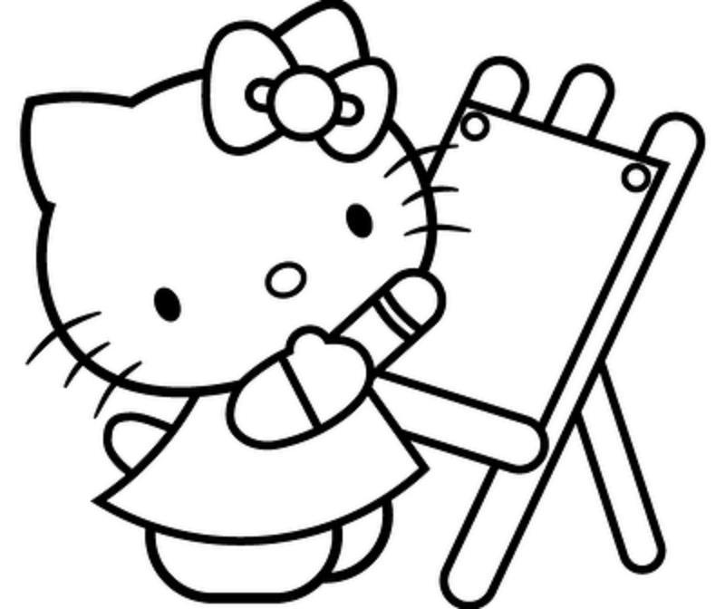 Китти художник Раскраски для девочек онлайн