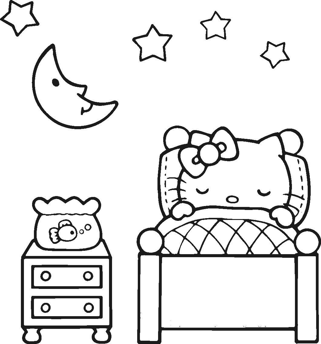 Китти спит в кроватке Раскраски для девочек онлайн
