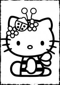 Кити с заколками в виде цветов и божьей коровки Раскраски для девочек онлайн