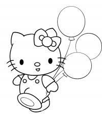Китти в комбинезоне с воздушными шариками Лучшие раскраски с цветами