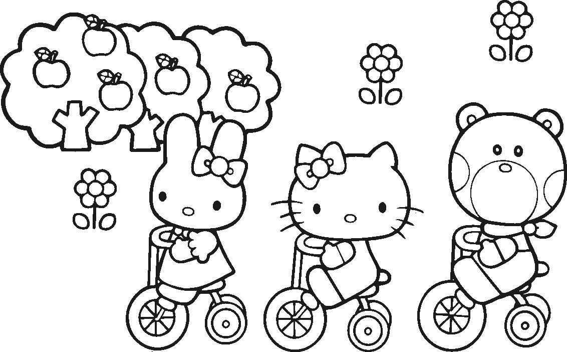 Китти, зайка и мишка на велосипедах Лучшие раскраски с цветами