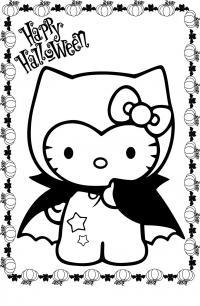 Китти на хэллоуин Раскраски для девочек онлайн