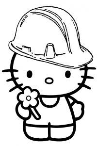 Китти в каске Раскраски для девочек онлайн