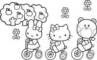 Китти, зайка и мишка на велосипедах Раскраски для девочек онлайн