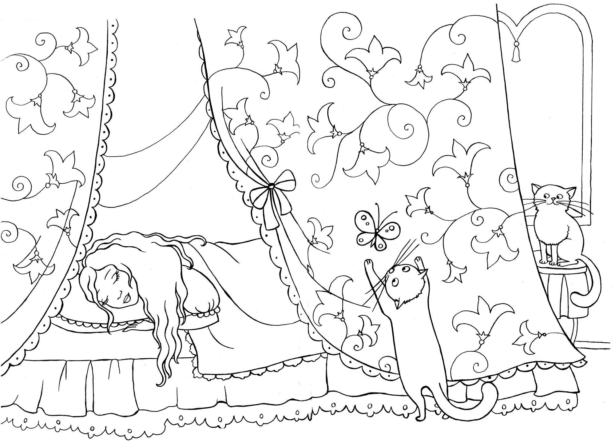 Кошки будят принцессу Раскраски для девочек скачать
