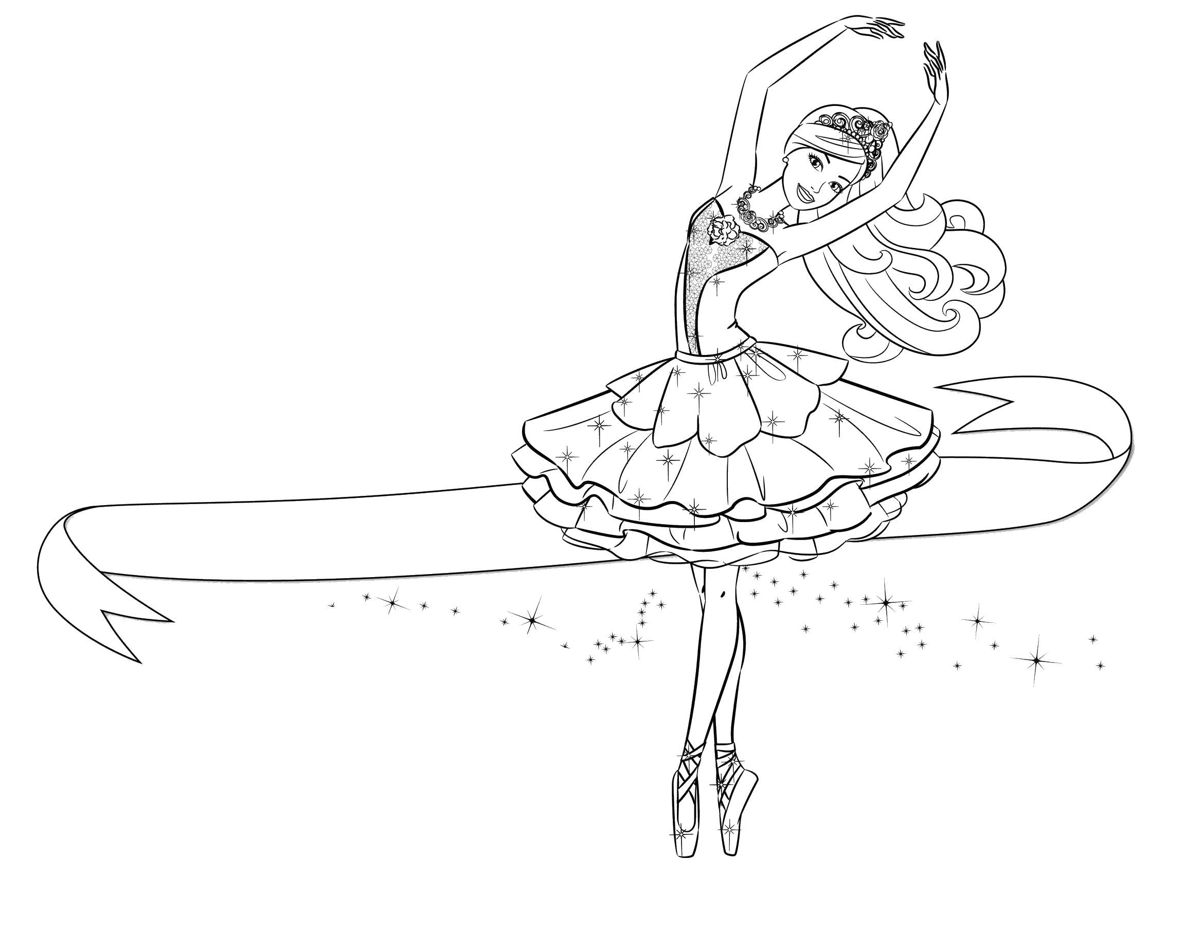 Балерина танцует балет Раскраски цветочки онлайн