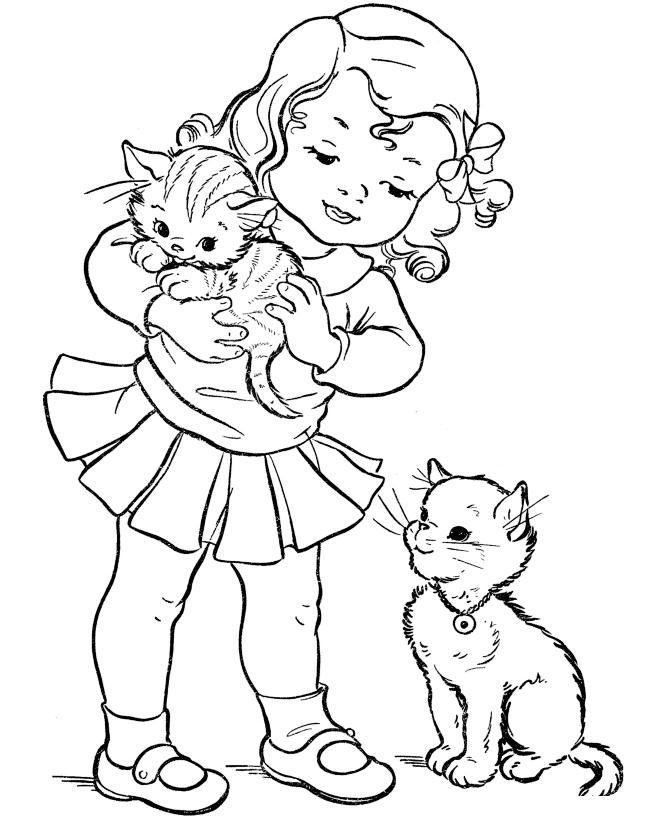 Девочка с котятами Раскраски для девочек онлайн