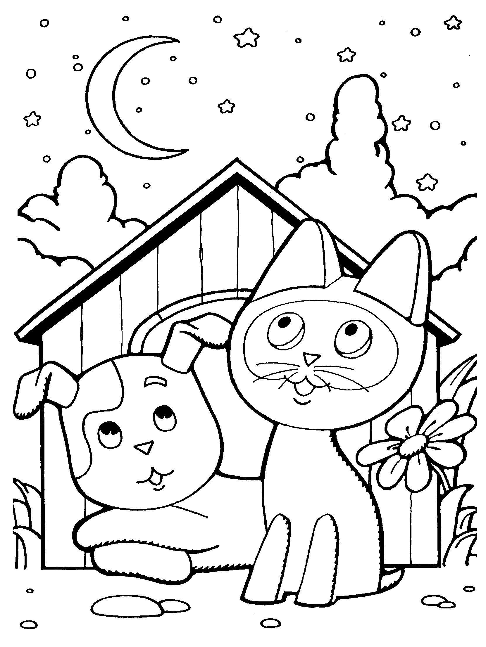 Котенок гав и пес возле будки смотрят на звезды Раскраски для девочек бесплатно