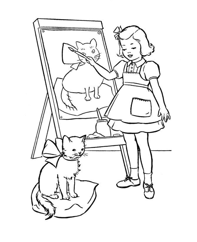 Девочка рисует котенка Раскраски для девочек онлайн