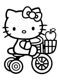 Китти на велосипеде Раскраски для девочек онлайн