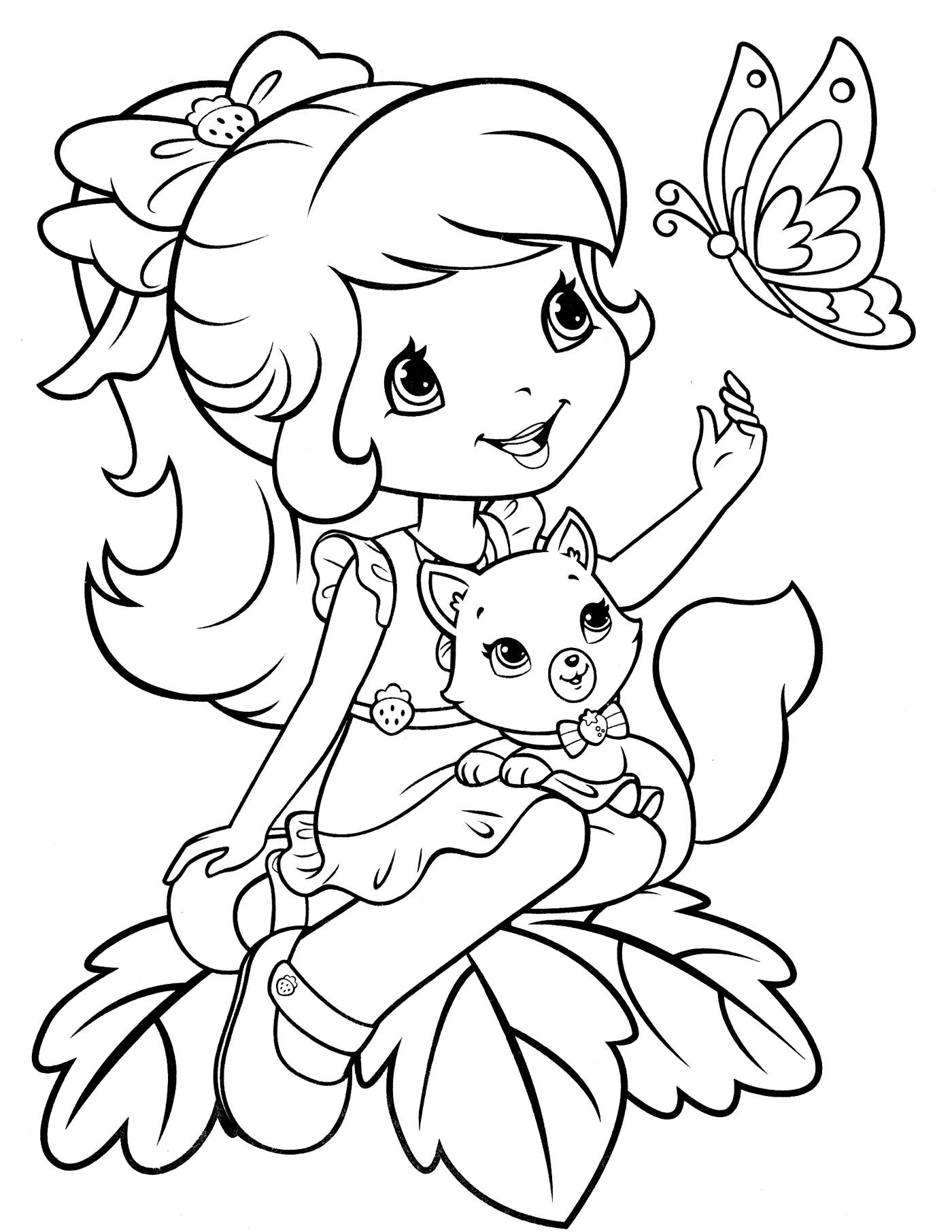Девочка с котенком на коленях и бабочка Раскраски для девочек онлайн