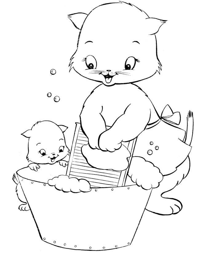 Кошка с котенком стирают Для детей онлайн раскраски с цветами