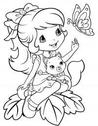 Девочка с котенком на коленях и бабочка Раскраски для девочек скачать