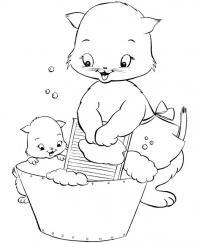 Кошка с котенком стирают Раскраски для девочек онлайн