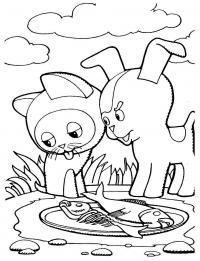 Котенок гав и щенок возле миски с рыбой Раскраски для девочек бесплатно