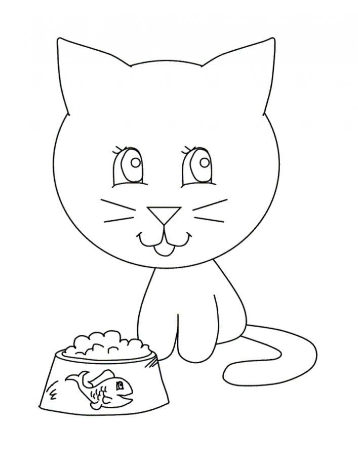 Котенок и миска с рыбкой Раскраски для девочек распечатать