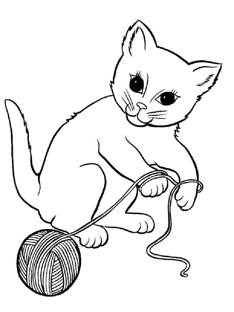 Котенок играет с клубком ниток Для детей онлайн раскраски с цветами