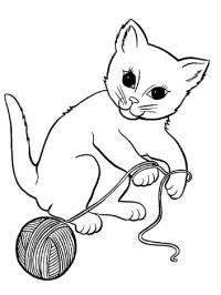 Котенок играет с клубком ниток Раскраски для девочек онлайн