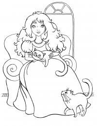 Принцесса с кошками Раскраски для девочек скачать