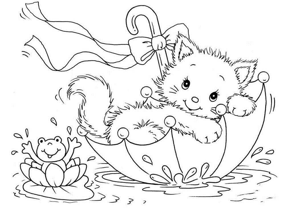 Котенок плывет на зонтики по воде Для детей онлайн раскраски с цветами