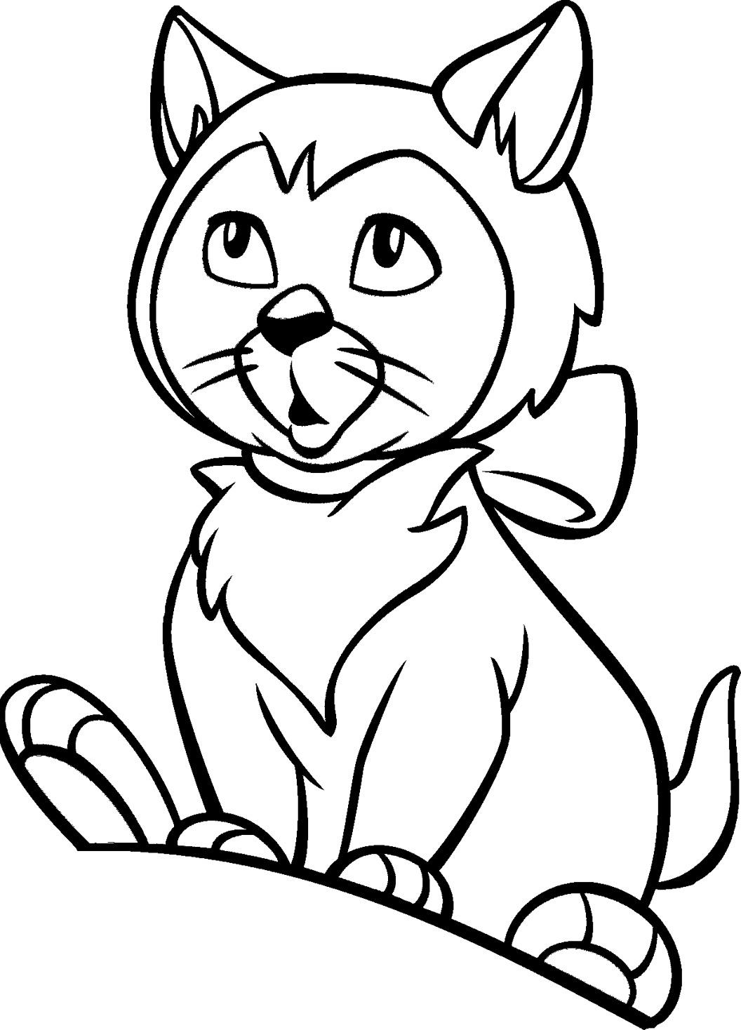 Удивленный котенок Для детей онлайн раскраски с цветами