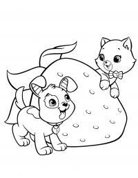 Котенок играет со щенком Для детей онлайн раскраски с цветами