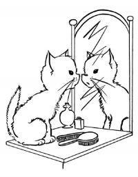 Котенок смотрит в зеркало Для детей онлайн раскраски с цветами