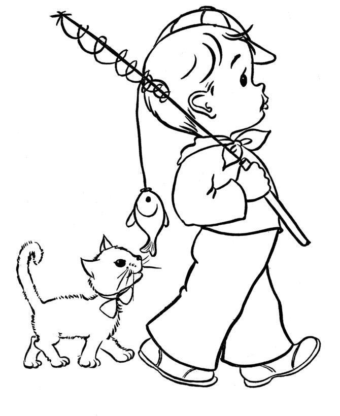 Котенок ловит рыбку Для детей онлайн раскраски с цветами