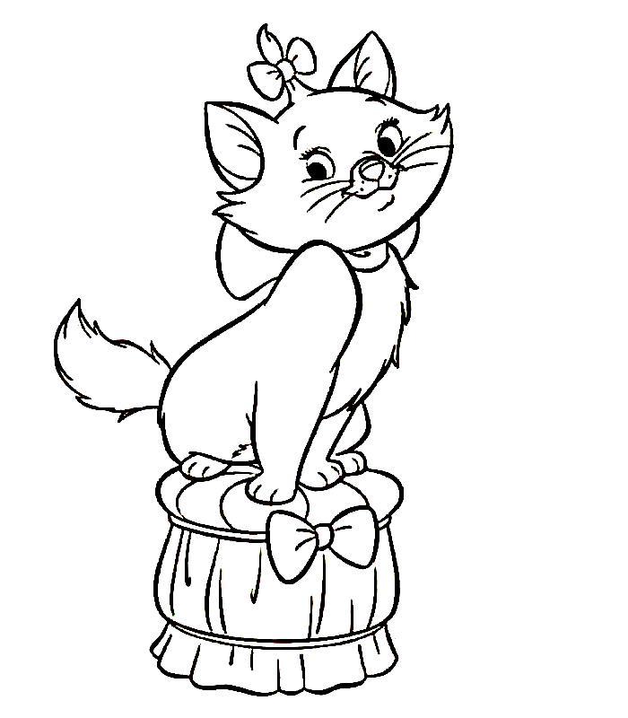 Котенок на пуфике Для детей онлайн раскраски с цветами