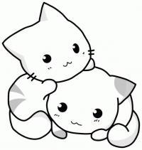 Маленькие котята Для детей онлайн раскраски с цветами