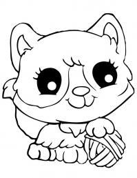 Милый котенок с клубком Для детей онлайн раскраски с цветами