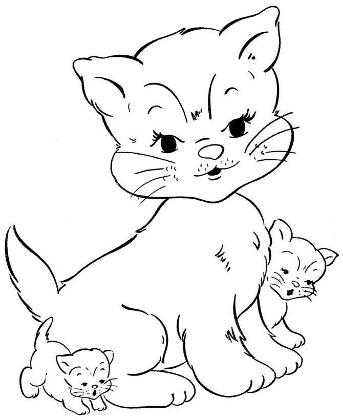 Кошечка с котятами Для детей онлайн раскраски с цветами