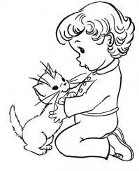 Котенок с ребенком Для детей онлайн раскраски с цветами