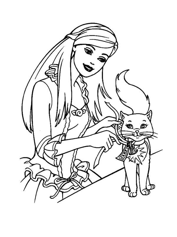 Барби с кошкой, барби завязывает ленту кошке Раскраски с цветами распечатать бесплатно