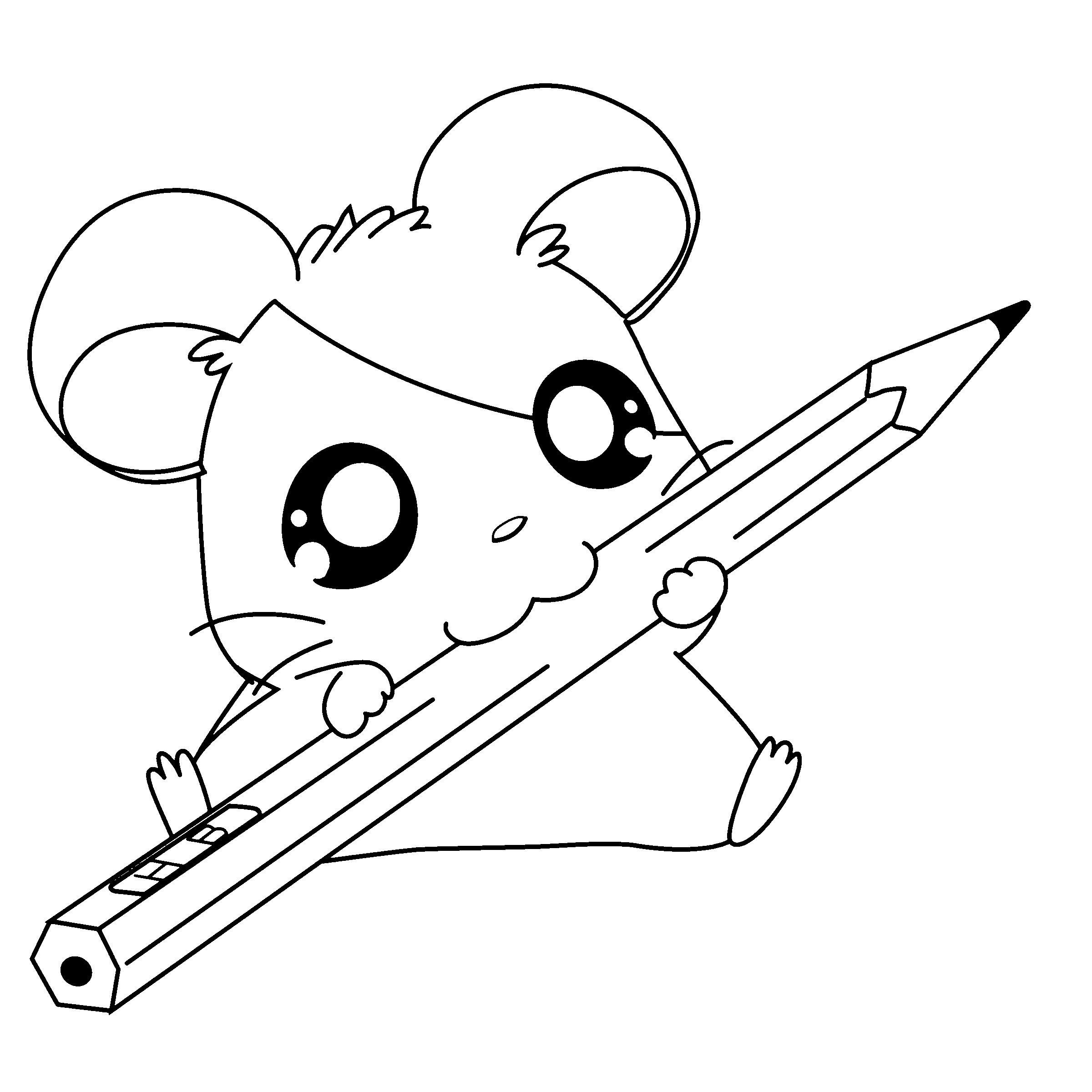 Милый мышонок с большими глазами, с карандашом Раскраски для девочек распечатать