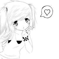Девочка с хвостиками и сердечко Раскраски для девочек онлайн