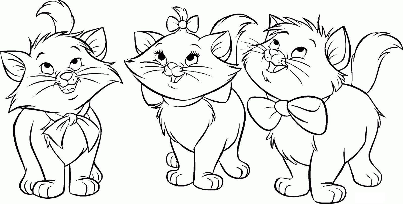 Трое котят Для детей онлайн раскраски с цветами