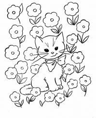 Котенок в цветах Для детей онлайн раскраски с цветами
