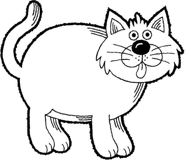 Толстая кошка Для детей онлайн раскраски с цветами