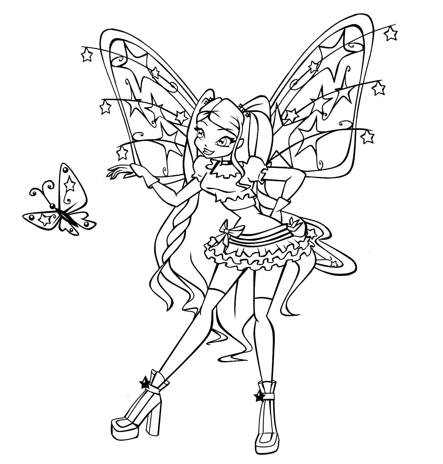 винкс разговаривает с бабочкой винкс с бабочкой раскраски