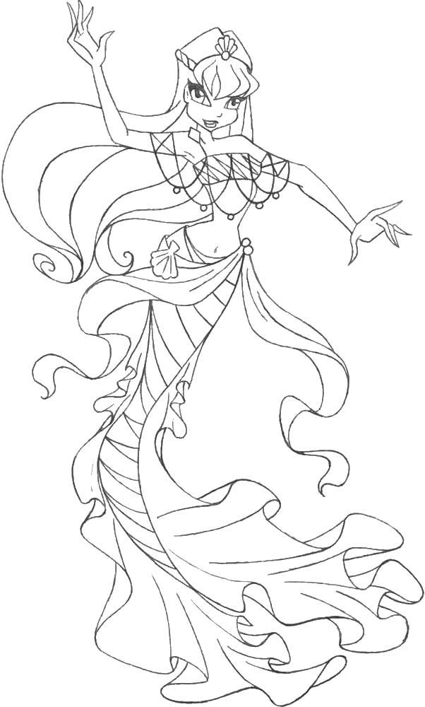 Русалка подводного мира Раскраски с цветами распечатать бесплатно