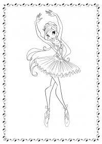 Балет Раскраски цветочки онлайн