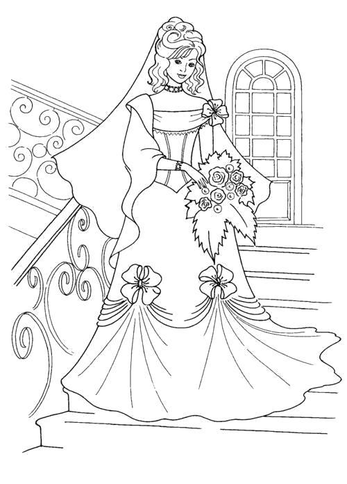 Свадебное платье Раскраски с цветами распечатать бесплатно