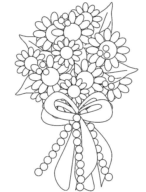 Букет цветов Раскраски с цветами распечатать бесплатно