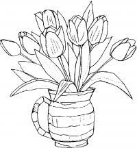 Цветы тульпаны Раскраски с цветами распечатать бесплатно